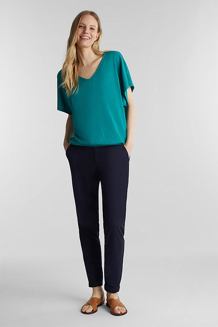En mezcla de lino: camiseta con cinta elástica, TEAL GREEN, detail image number 1