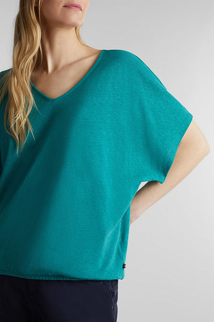 En mezcla de lino: camiseta con cinta elástica, TEAL GREEN, detail image number 2
