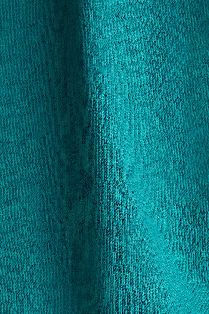 Blended linen top with an elasticated waistband, TEAL GREEN, detail image number 4