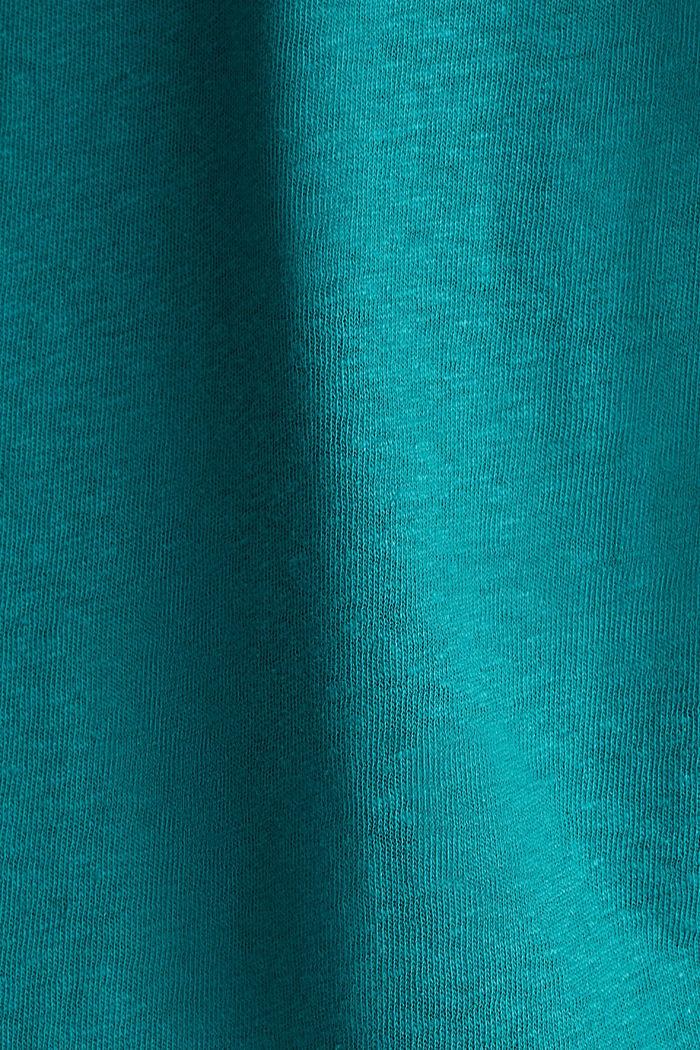 En mezcla de lino: camiseta con cinta elástica, TEAL GREEN, detail image number 4