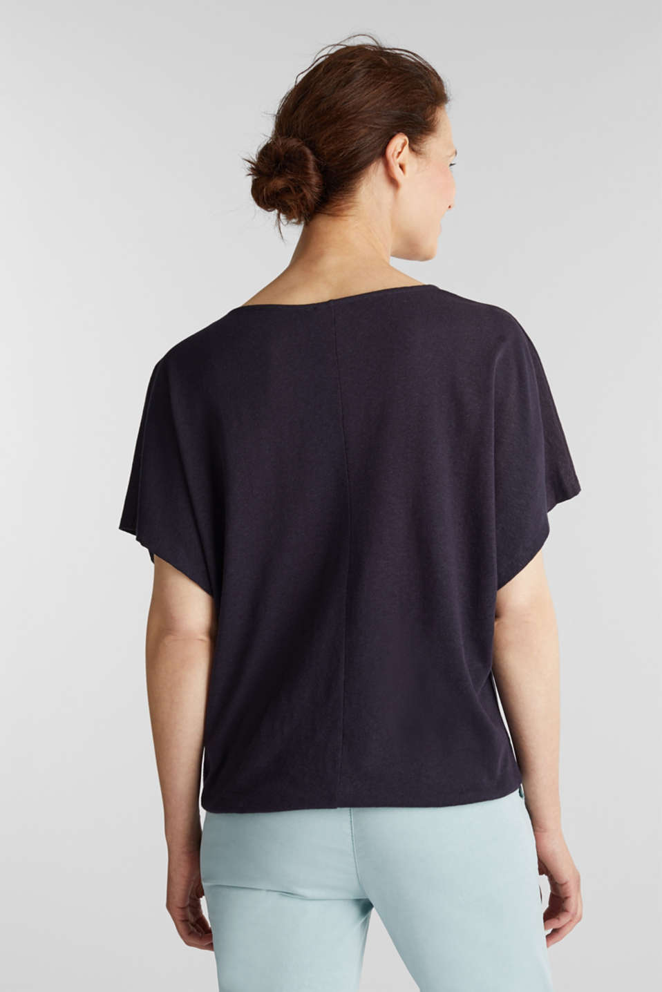 Blended linen top with an elasticated waistband, NAVY, detail image number 3