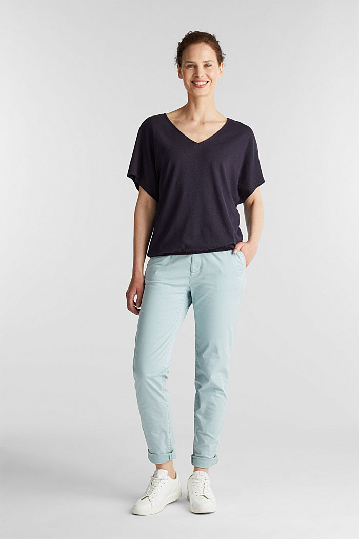 Blended linen top with an elasticated waistband, NAVY, detail image number 1