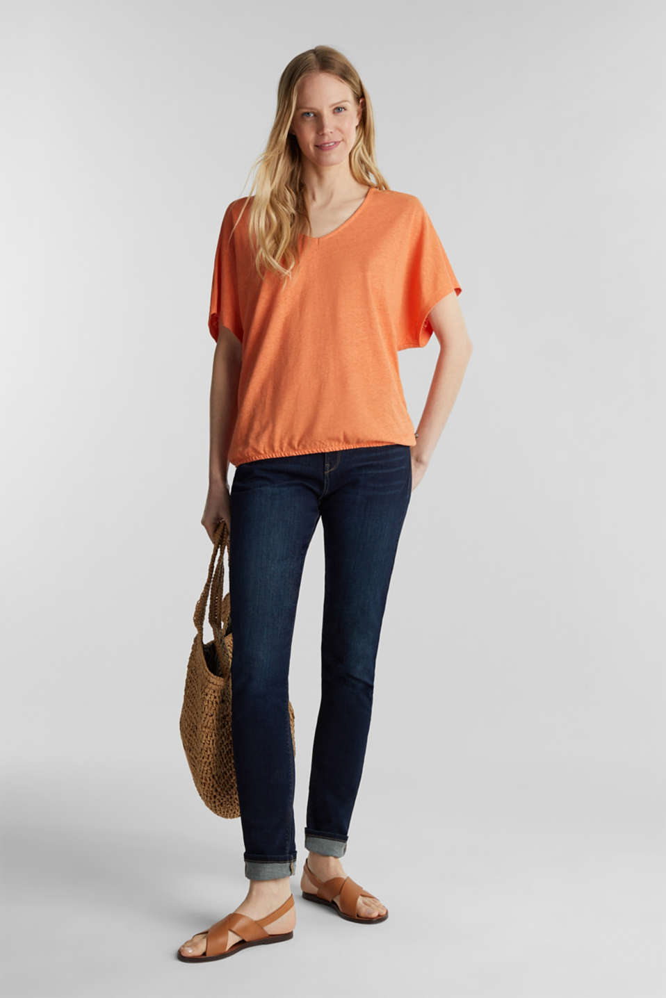 Blended linen top with an elasticated waistband, RUST ORANGE, detail image number 0