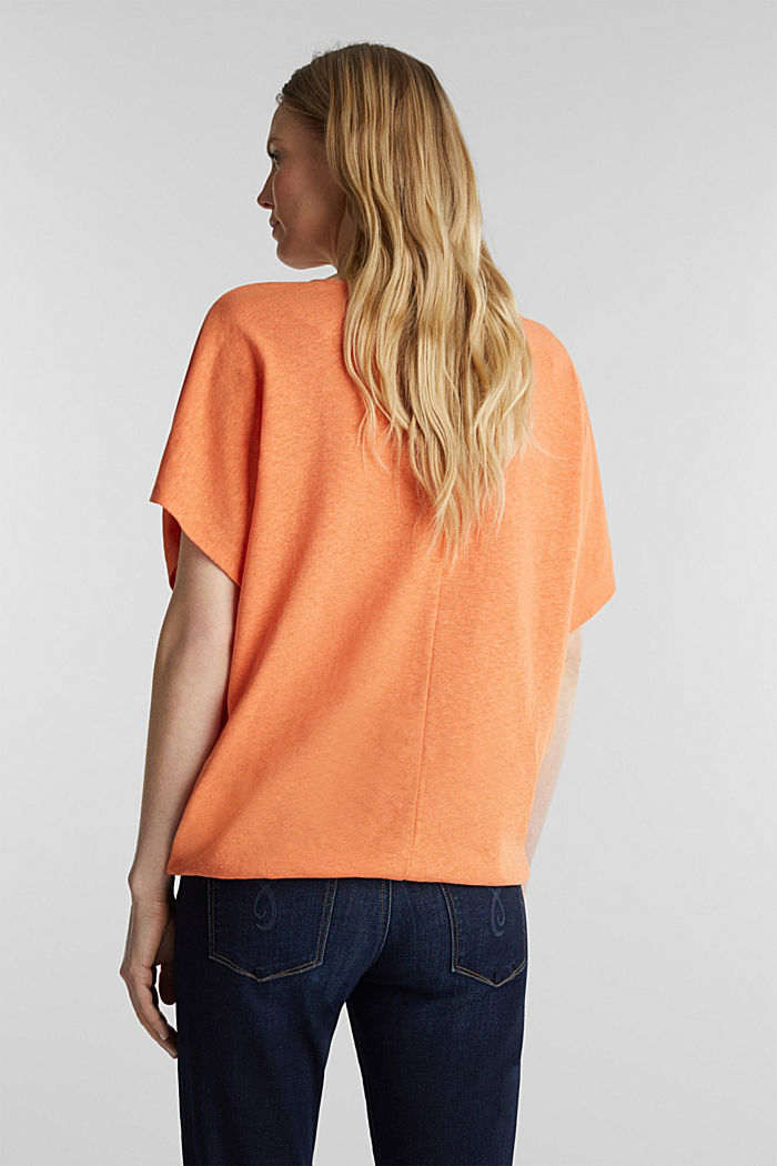Blended linen top with an elasticated waistband, RUST ORANGE, detail image number 2