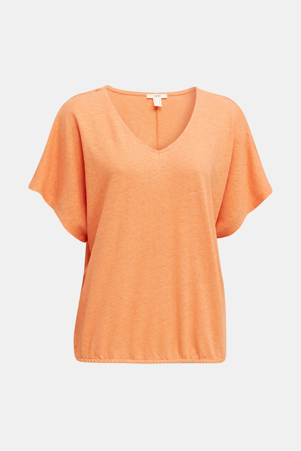 Blended linen top with an elasticated waistband, RUST ORANGE, detail image number 4