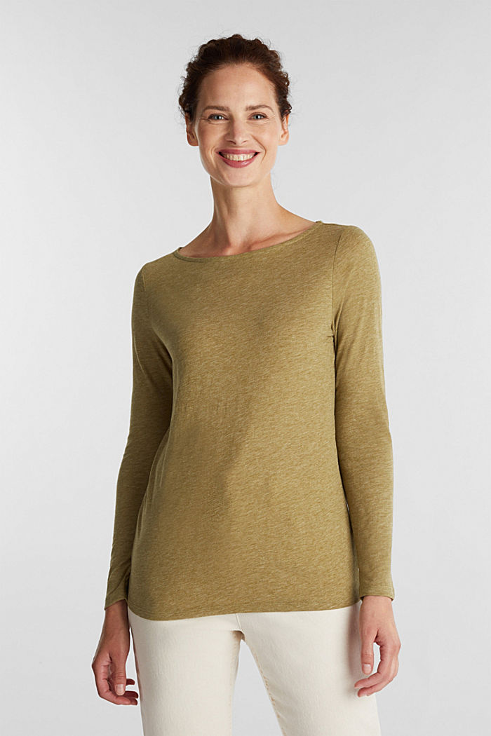 Recycled: long sleeve top with organic cotton, OLIVE, detail image number 0