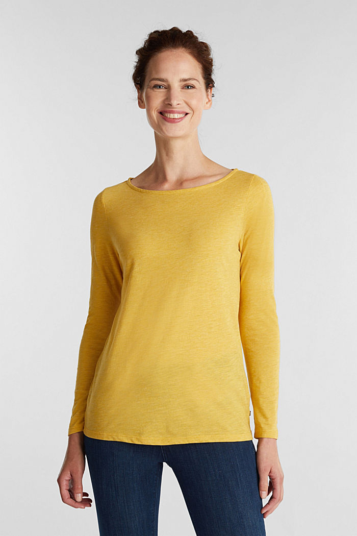 Recycled: long sleeve top with organic cotton, BRASS YELLOW, detail image number 0