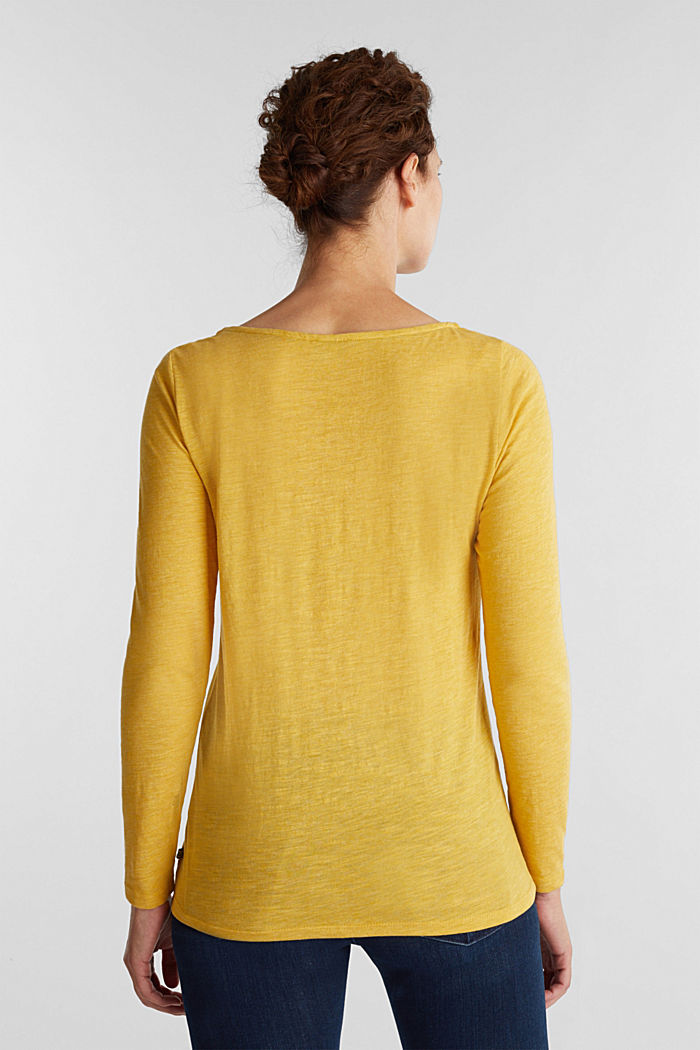 Recycled: long sleeve top with organic cotton, BRASS YELLOW, detail image number 3