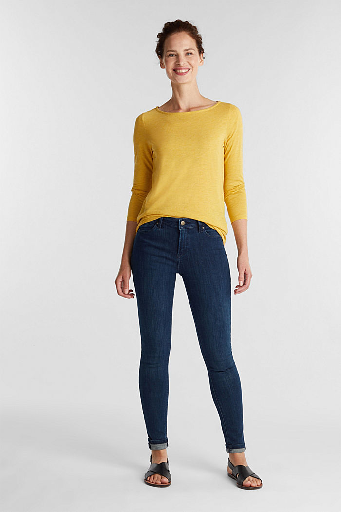 Recycled: long sleeve top with organic cotton, BRASS YELLOW, detail image number 1