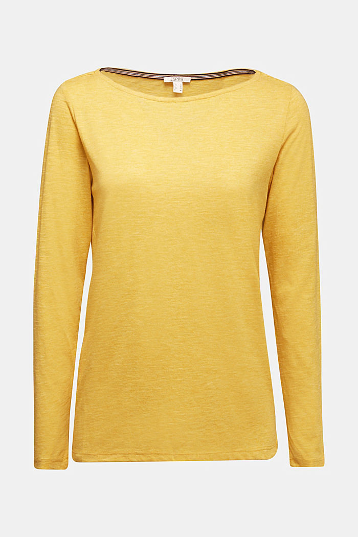 Recycled: long sleeve top with organic cotton, BRASS YELLOW, detail image number 5