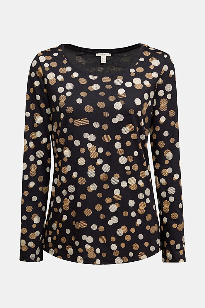 Cotton/modal long sleeve top with print, BLACK, detail image number 5