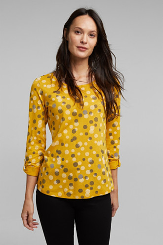 Cotton/modal long sleeve top with print