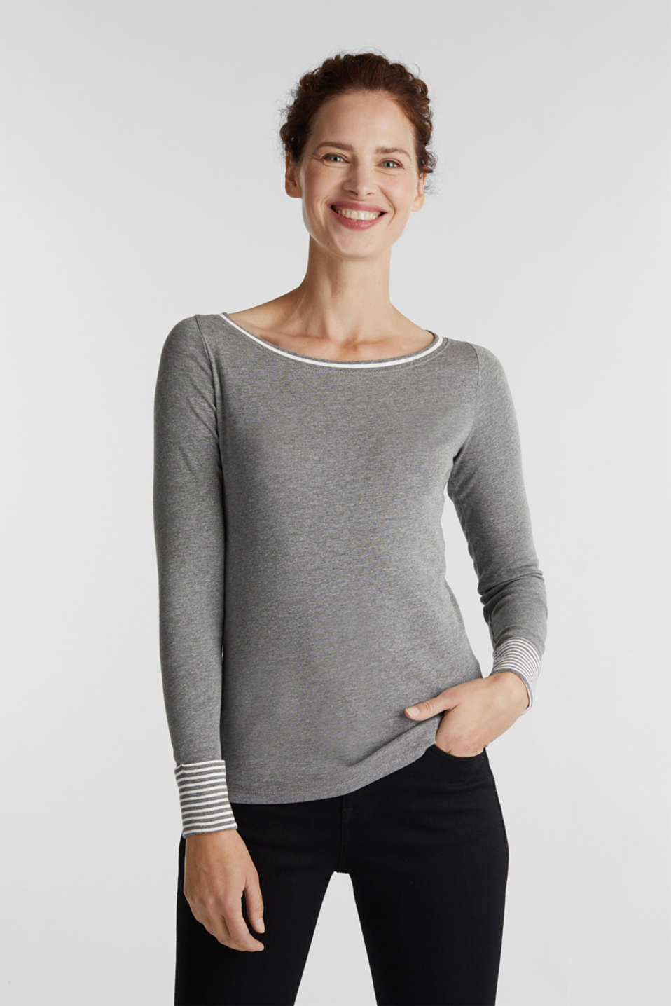 Esprit - Long sleeve top with striped hem edges