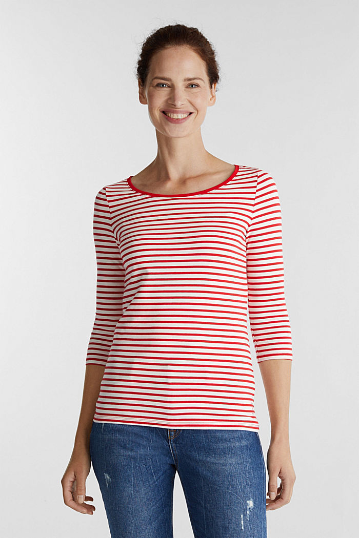 Striped long sleeve top with a bow detail, OFF WHITE, detail image number 0