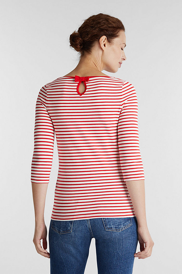 Striped long sleeve top with a bow detail, OFF WHITE, detail image number 3