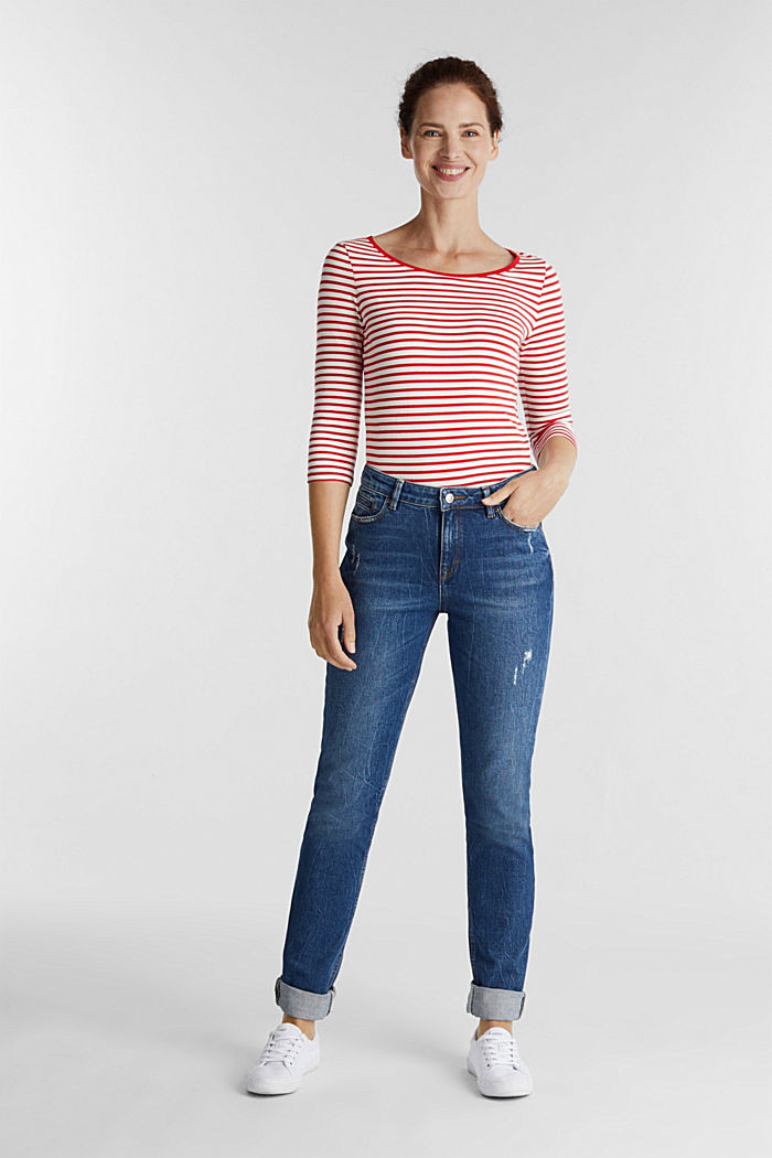 Striped long sleeve top with a bow detail, OFF WHITE, detail image number 1