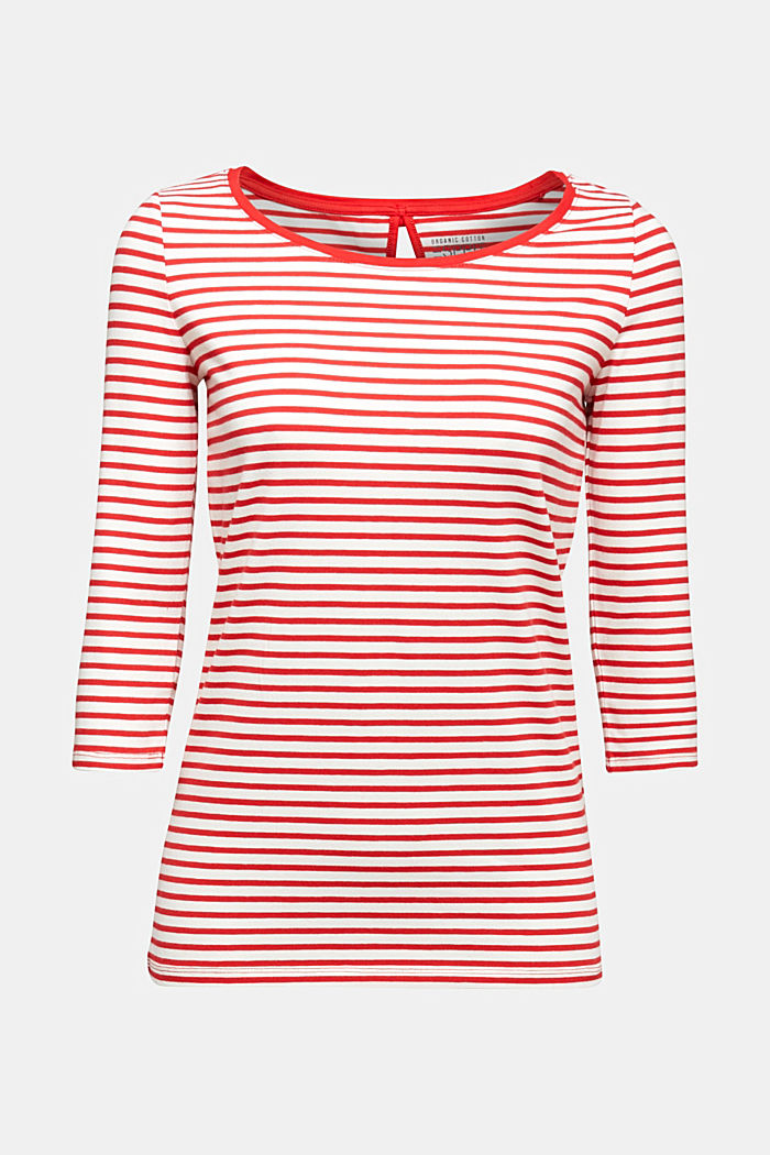 Striped long sleeve top with a bow detail, OFF WHITE, detail image number 5