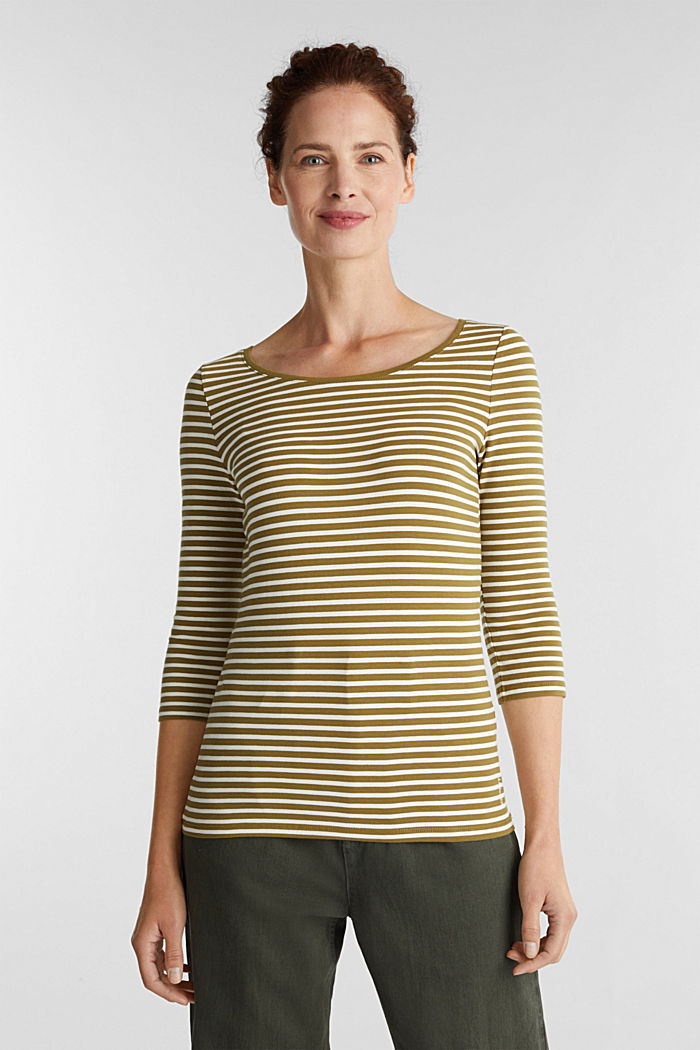 Striped long sleeve top with a bow detail, OLIVE, detail image number 0