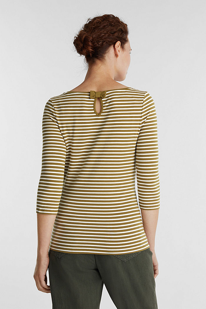 Striped long sleeve top with a bow detail, OLIVE, detail image number 3