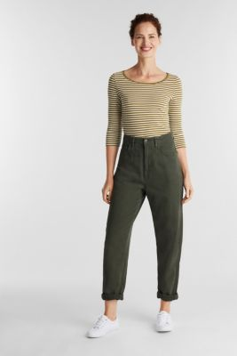 Striped long sleeve top with a bow detail, OLIVE, detail