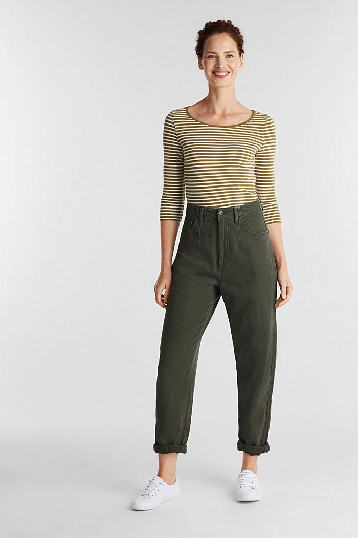 Striped long sleeve top with a bow detail, OLIVE, detail image number 1