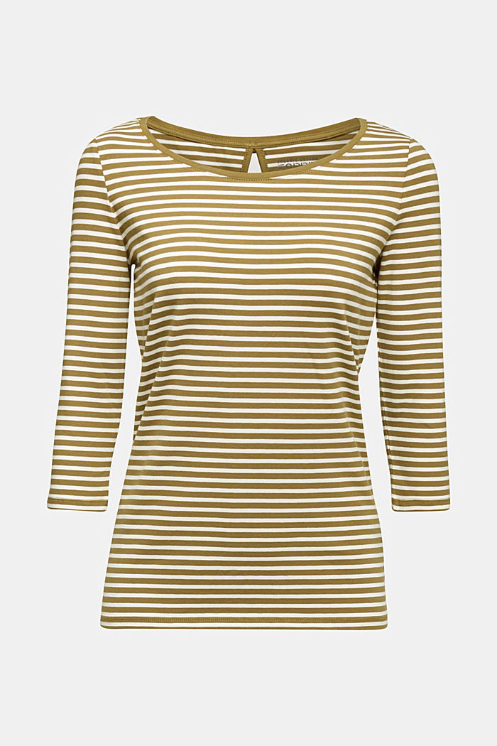 Striped long sleeve top with a bow detail, OLIVE, detail image number 5