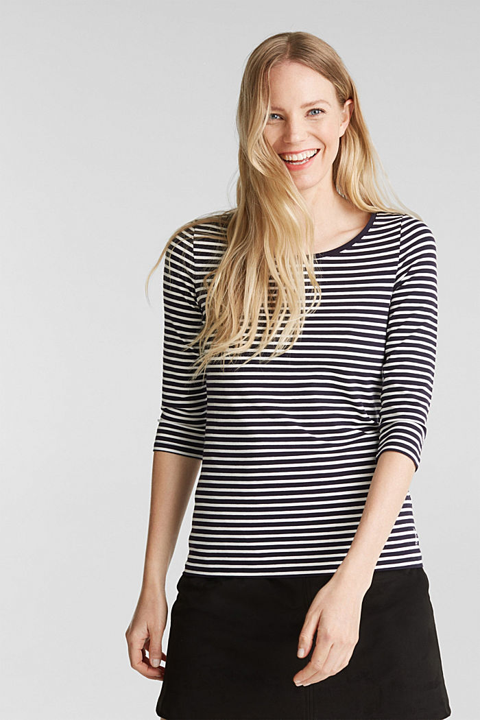 Striped long sleeve top with a bow detail, NAVY, detail image number 0
