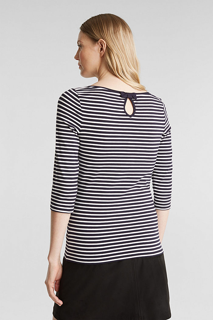 Striped long sleeve top with a bow detail, NAVY, detail image number 3