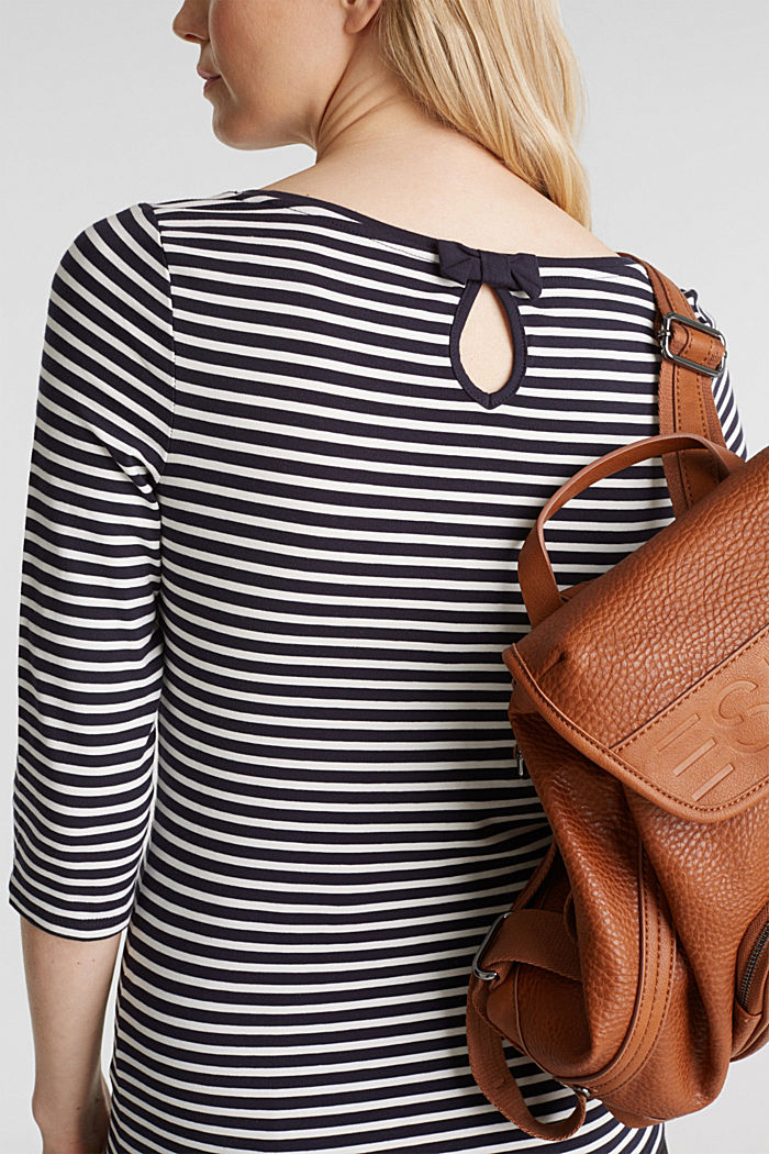Striped long sleeve top with a bow detail, NAVY, detail image number 2