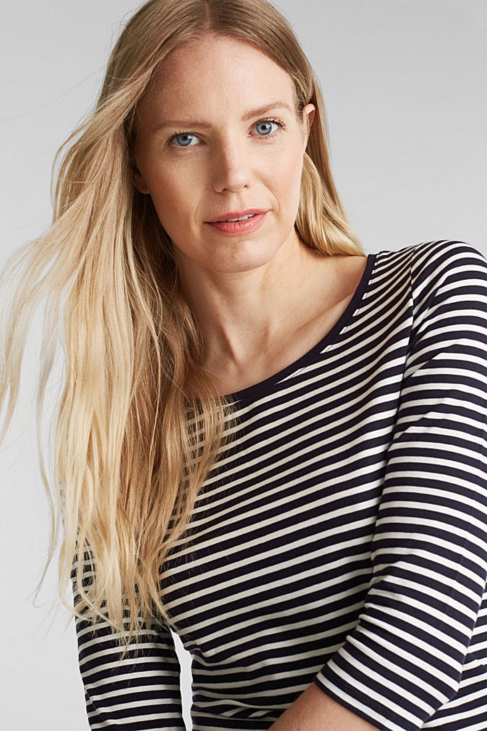 Striped long sleeve top with a bow detail, NAVY, detail image number 5