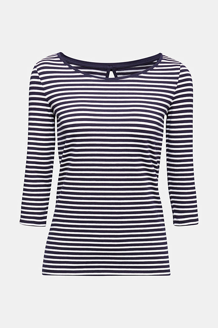 Striped long sleeve top with a bow detail, NAVY, detail image number 6