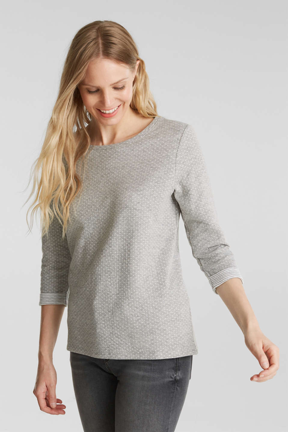 Esprit - Double-faced long sleeve top with cotton