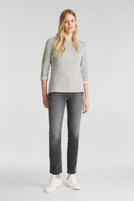 Double-faced long sleeve top with cotton, LIGHT GREY, detail