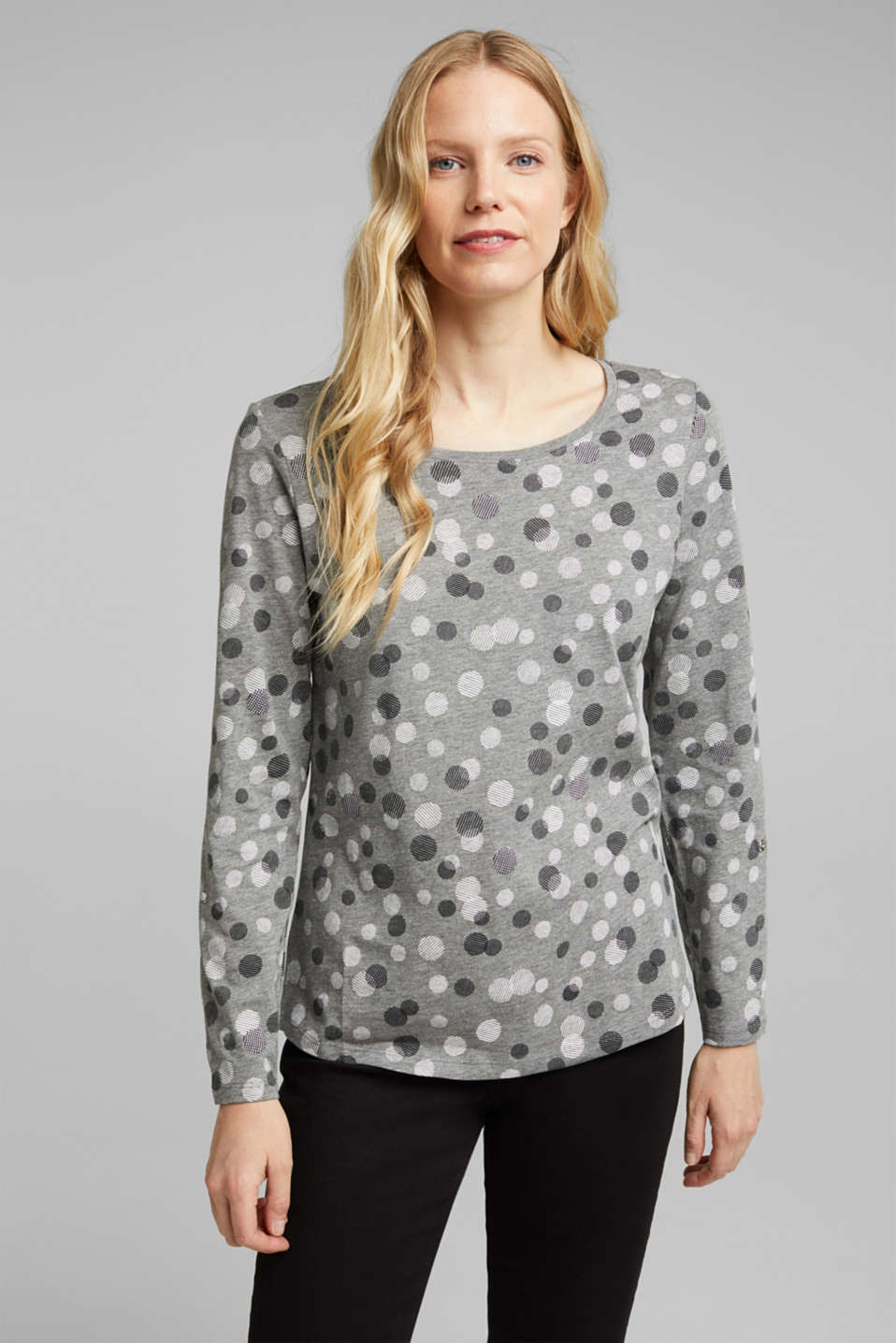 Esprit - Long sleeve jersey top in blended cotton