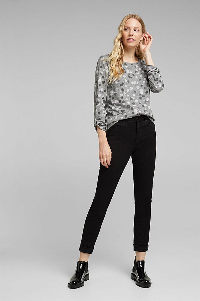 T-shirt à manches longues, coton mélangé, GUNMETAL, detail image number 1
