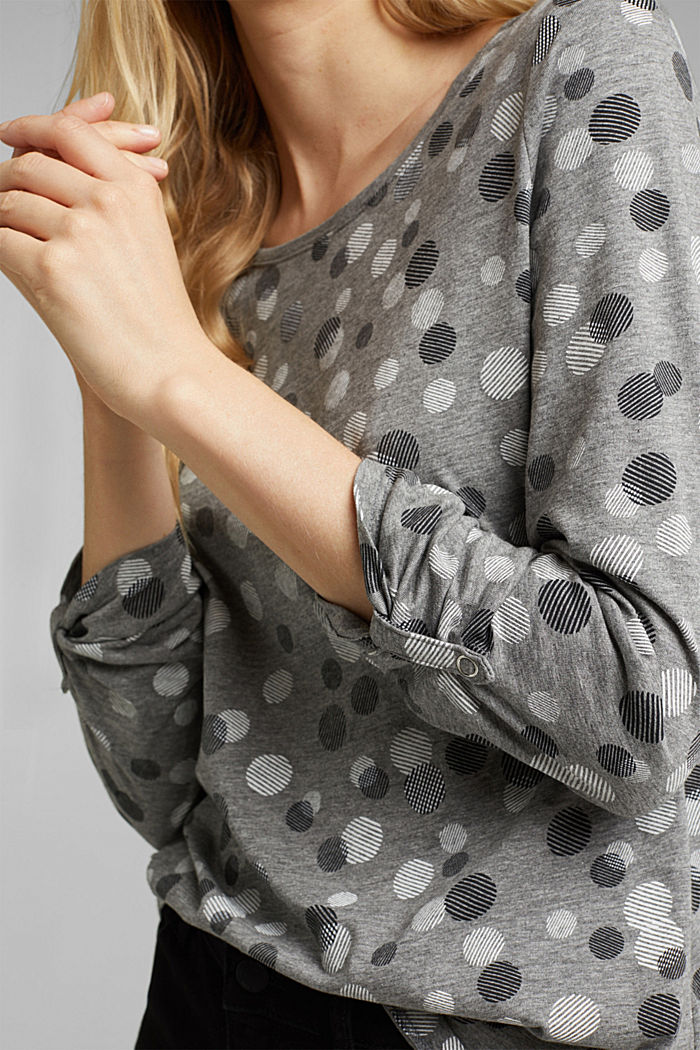 Long sleeve jersey top in blended cotton, GUNMETAL, detail image number 2