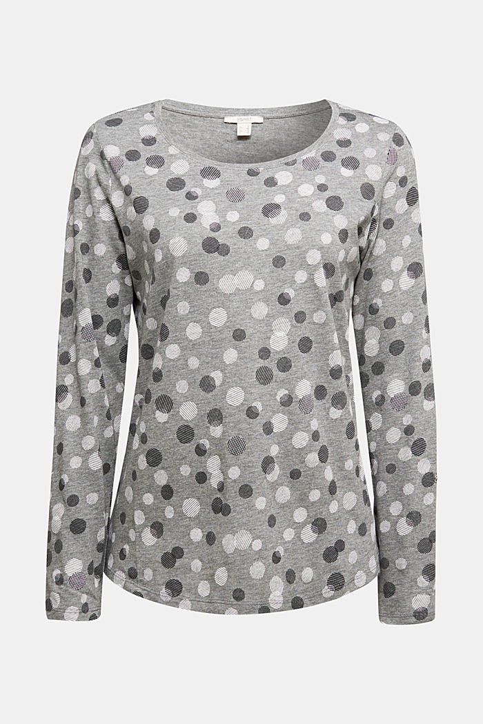 Long sleeve jersey top in blended cotton