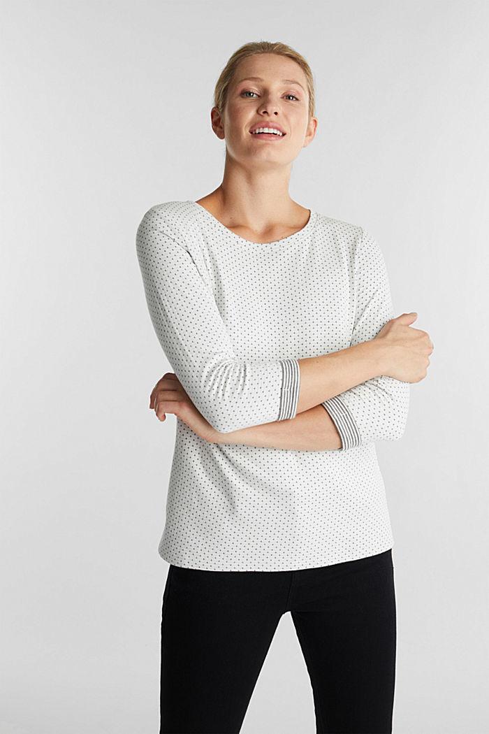Oboustranné tričko s dlouhým rukávem a s bavlnou, OFF WHITE, detail image number 0