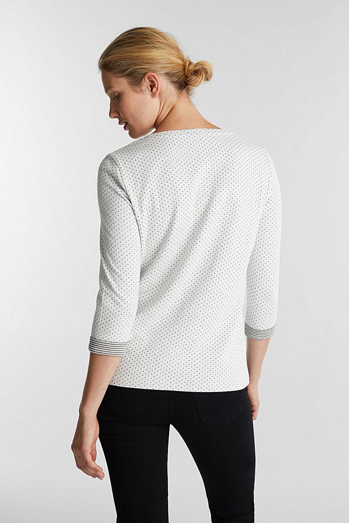 Oboustranné tričko s dlouhým rukávem a s bavlnou, OFF WHITE, detail image number 3