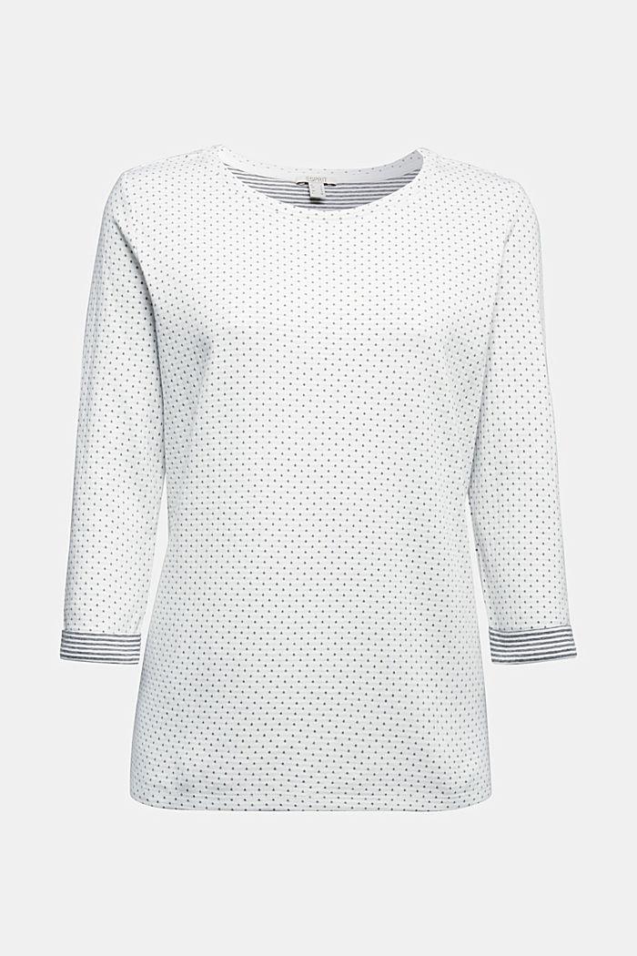 Oboustranné tričko s dlouhým rukávem a s bavlnou, OFF WHITE, detail image number 5