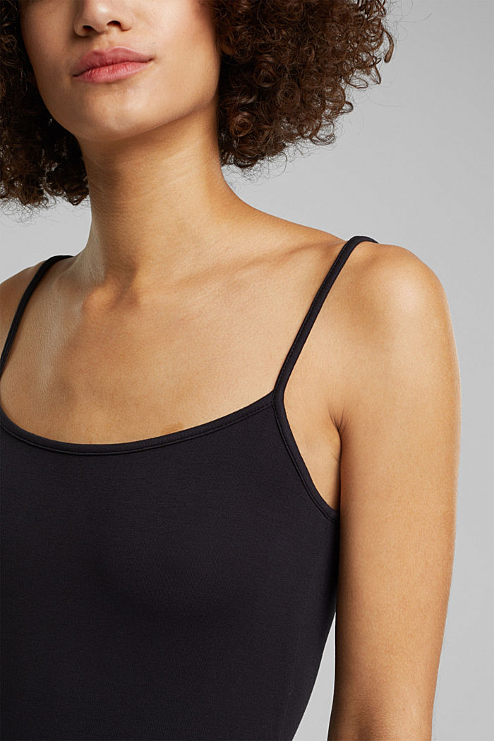 Stretch jersey top with spaghetti straps, BLACK, detail image number 2