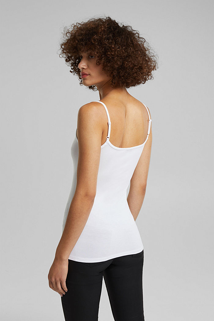 Stretch jersey top with spaghetti straps, WHITE, detail image number 3