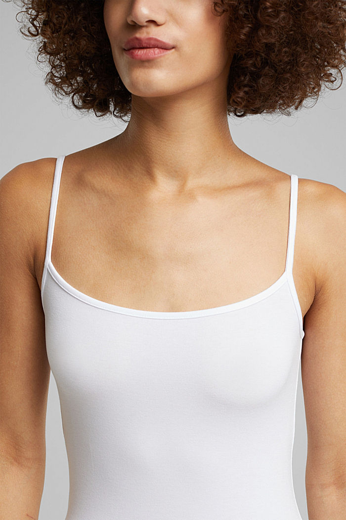 Stretch jersey top with spaghetti straps, WHITE, detail image number 2