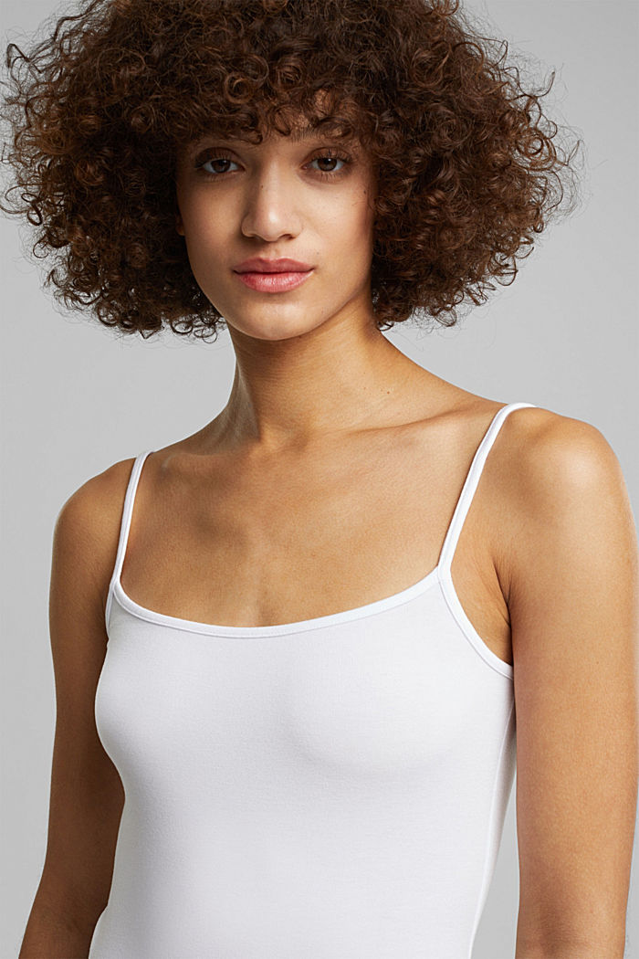 Stretch jersey top with spaghetti straps, WHITE, detail image number 5