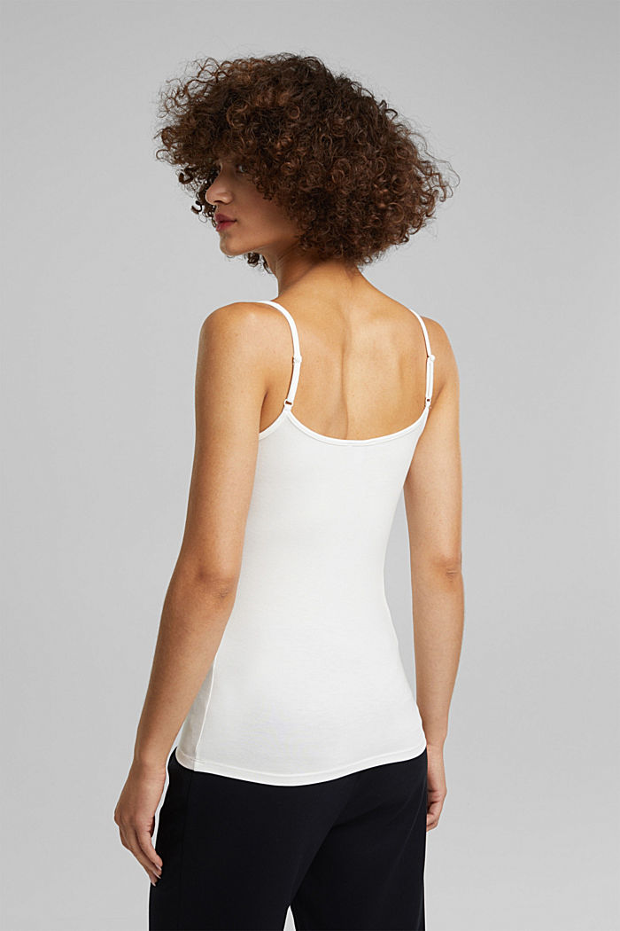 Stretch jersey top with spaghetti straps, OFF WHITE, detail image number 3