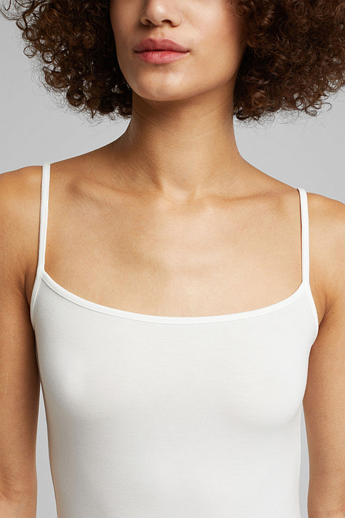 Stretch jersey top with spaghetti straps, OFF WHITE, detail image number 2
