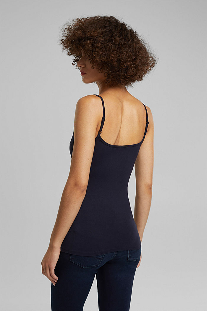 Stretch jersey top with spaghetti straps, NAVY, detail image number 3