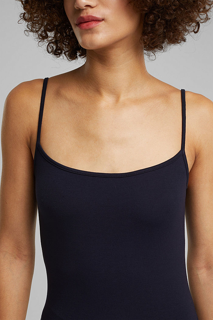 Stretch jersey top with spaghetti straps, NAVY, detail image number 2