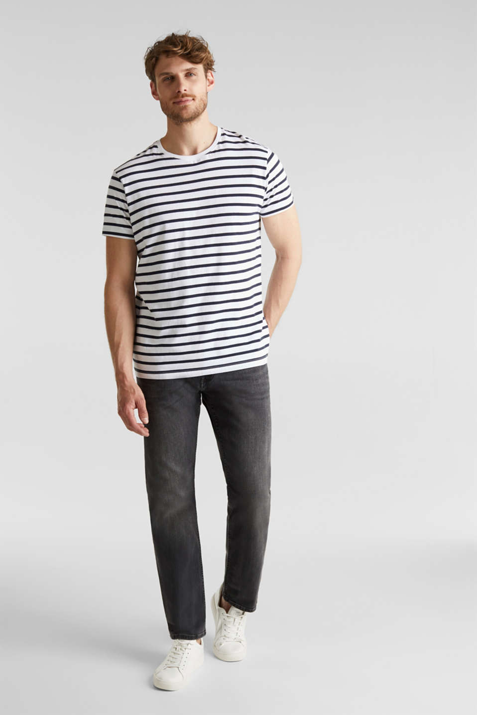 Washed-out effect stretch jeans, BLACK MEDIUM WASH, detail image number 4