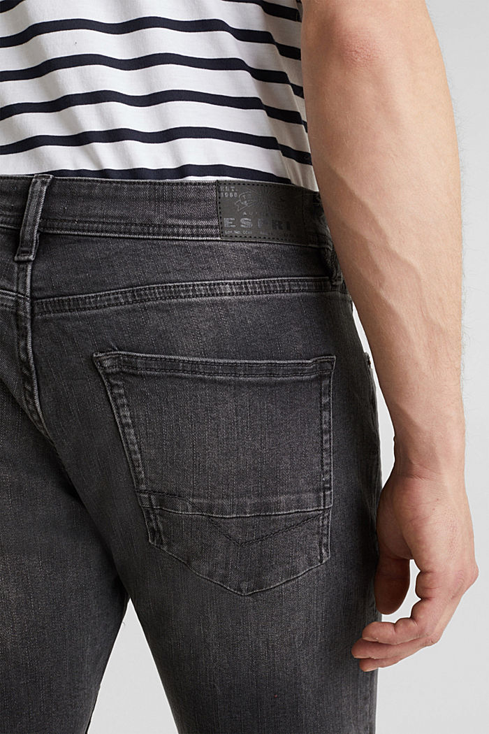Washed-out effect stretch jeans, BLACK MEDIUM WASHED, detail image number 3